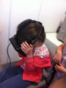 My daughter Grace, at the Museum of Computing, trying the Oculus Rift. The children didn't seem to be as disoriented as the adults.